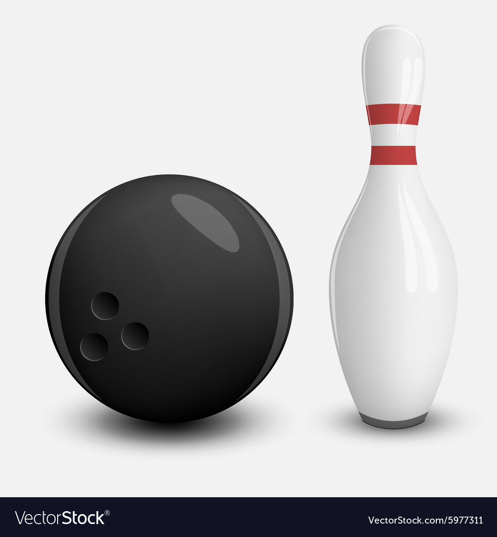 Realistic ball and pin of bowling