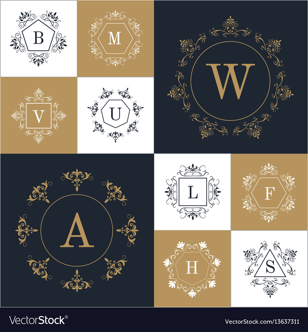 Set elegant monogram design vector