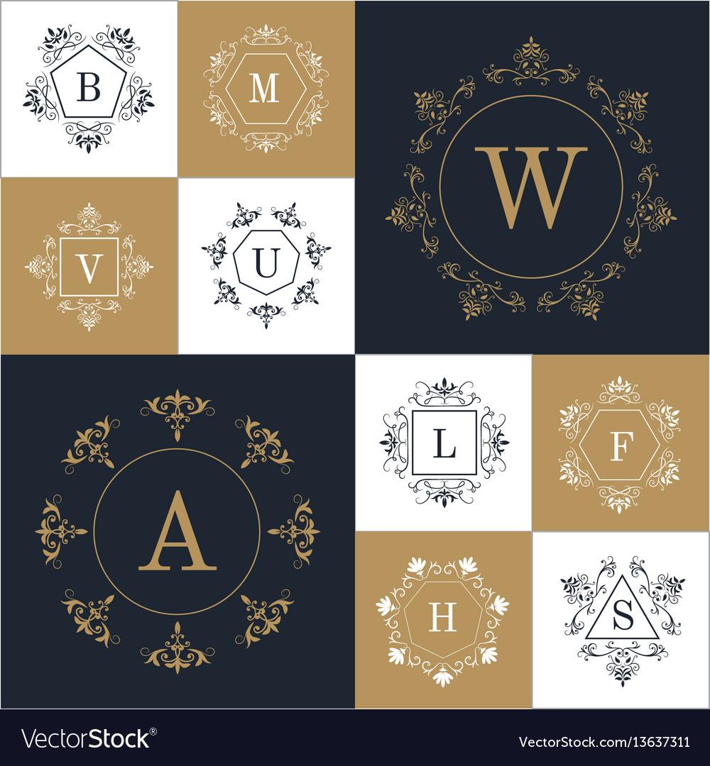 Set elegant monogram design