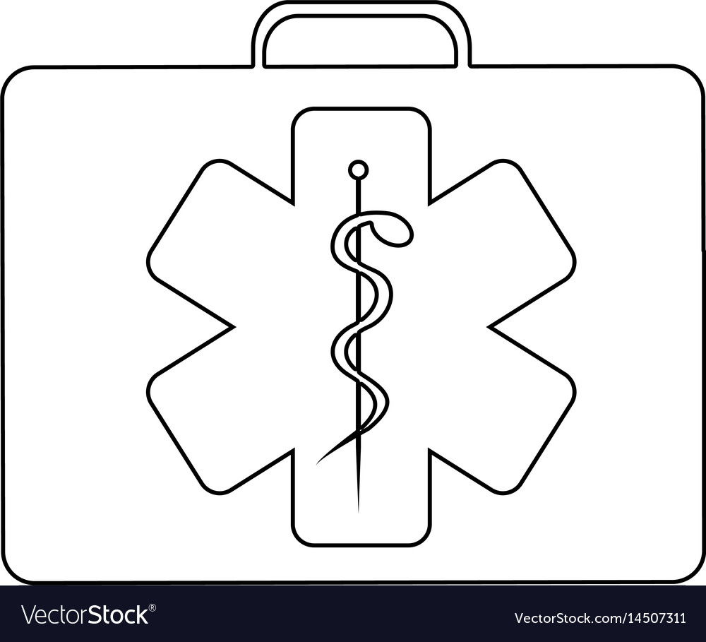 Silhouette firts aid kit with symbol star of life