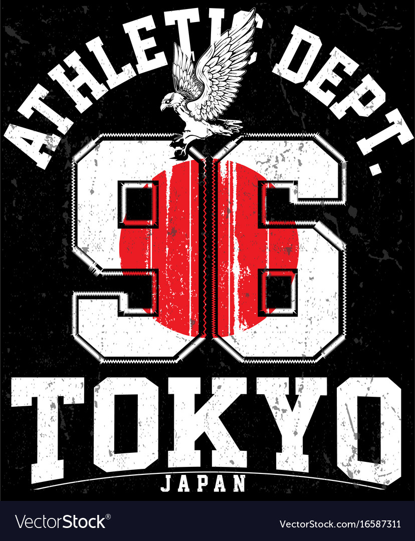 Tokyo athletic sport typography t shirt graphics