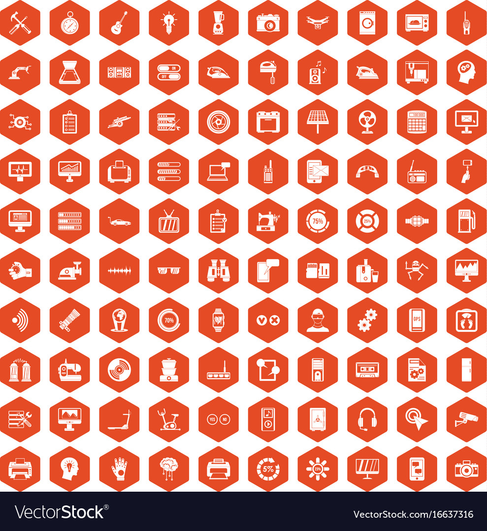100 settings icons hexagon orange