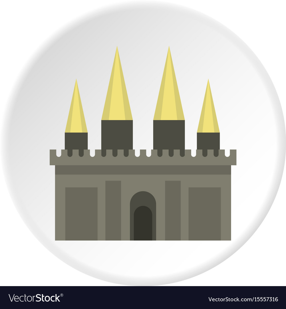 Ancient castle palace icon circle vector image