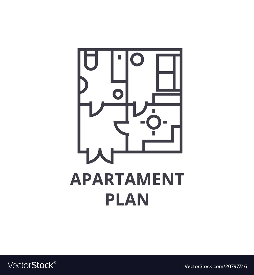 Apartment plan line icon sign