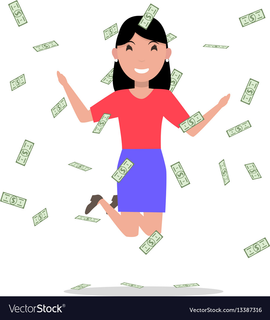 Cartoon woman jumping joy falling money
