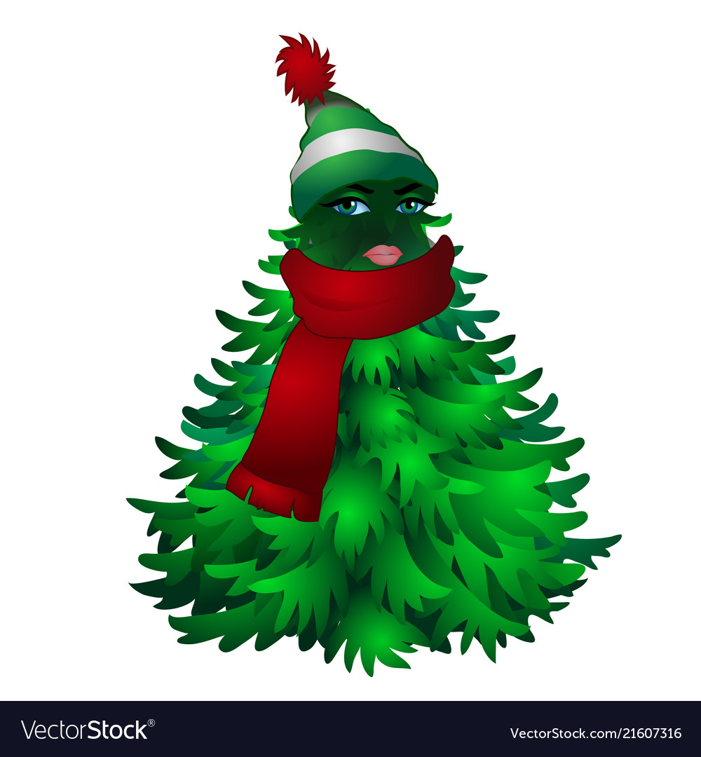 Christmas tree with woman face and striped hat