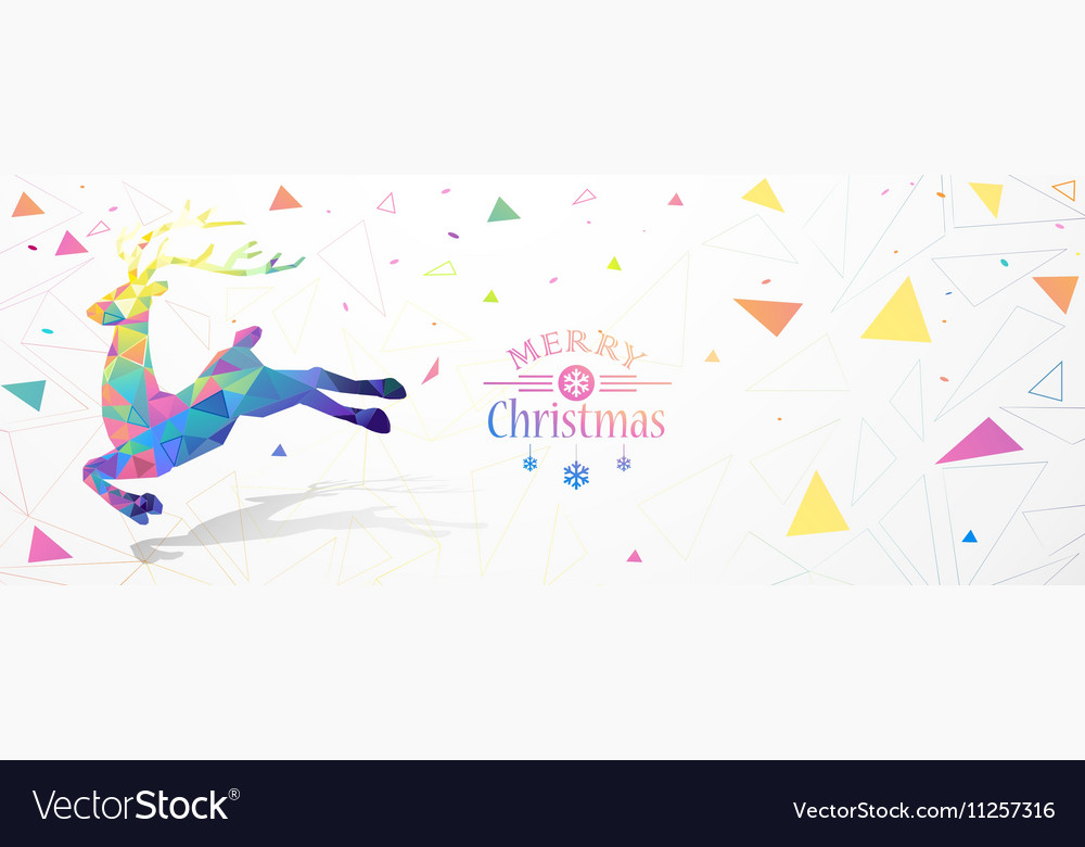 Christmas with color deer Low Poly
