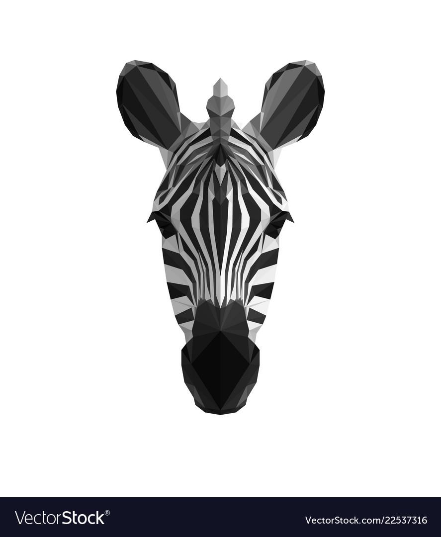 Low poly triangle art zebra head