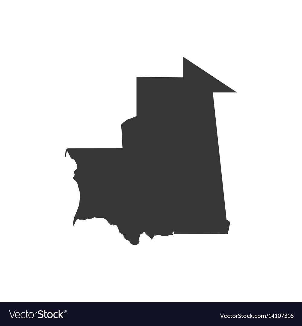 Mauritania map silhouette vector image