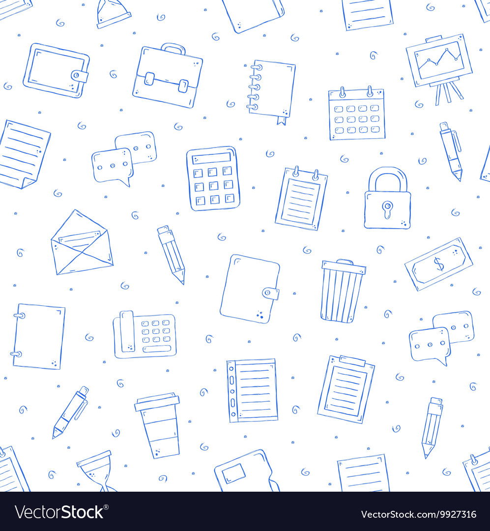 Office work pattern bllue icons