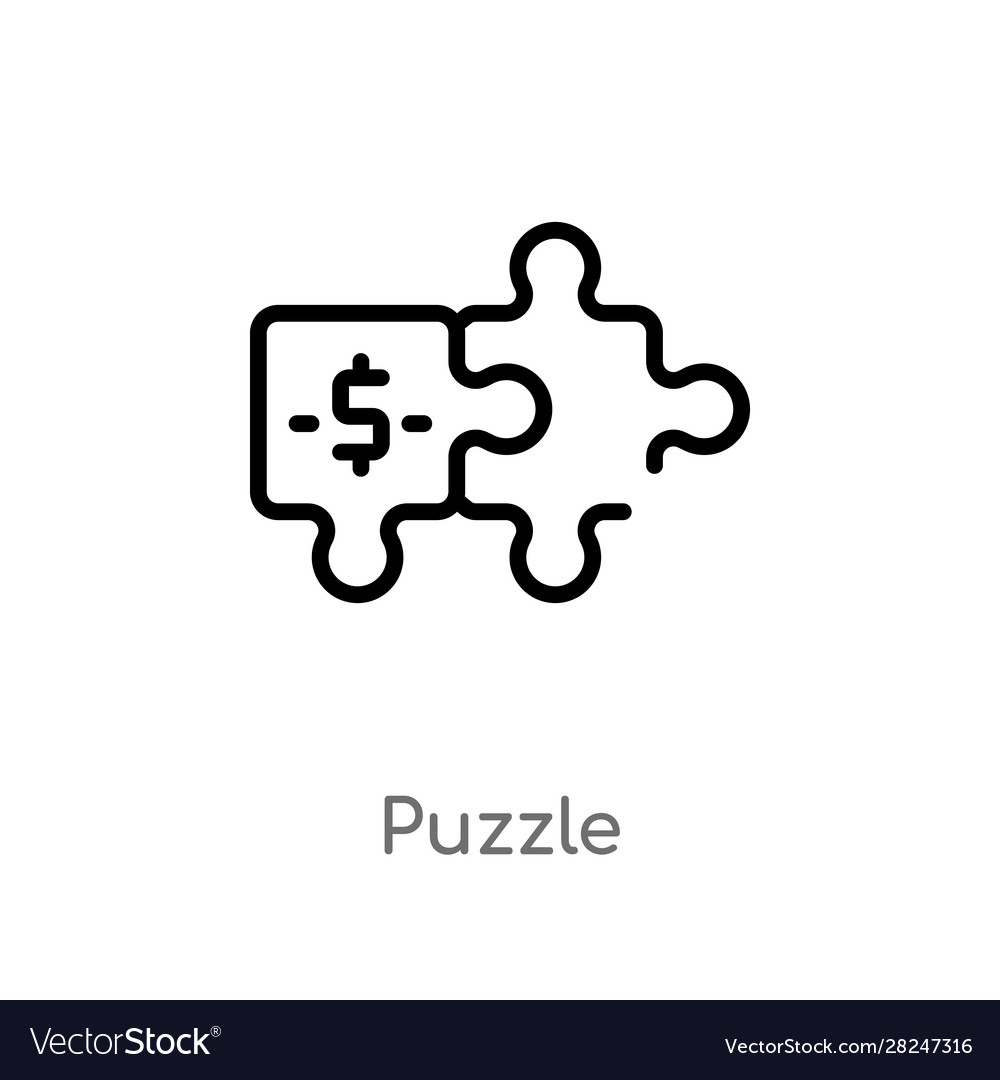 Outline puzzle icon isolated black simple line