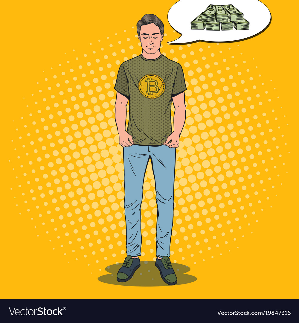 Pop art man wearing in t-shirt with bitcoin print