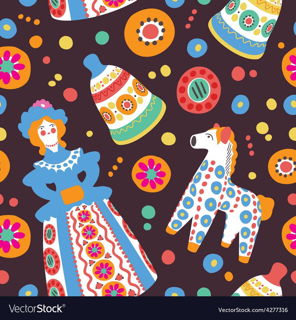 Russian souvenir Dymkovo toys seamless pattern vector image