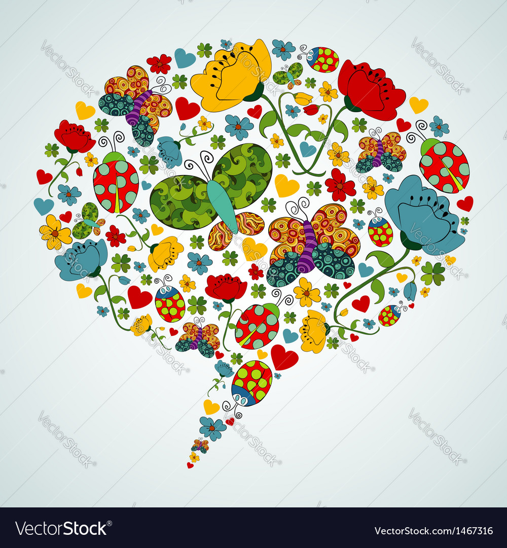 Spring social media bubble speech vector image
