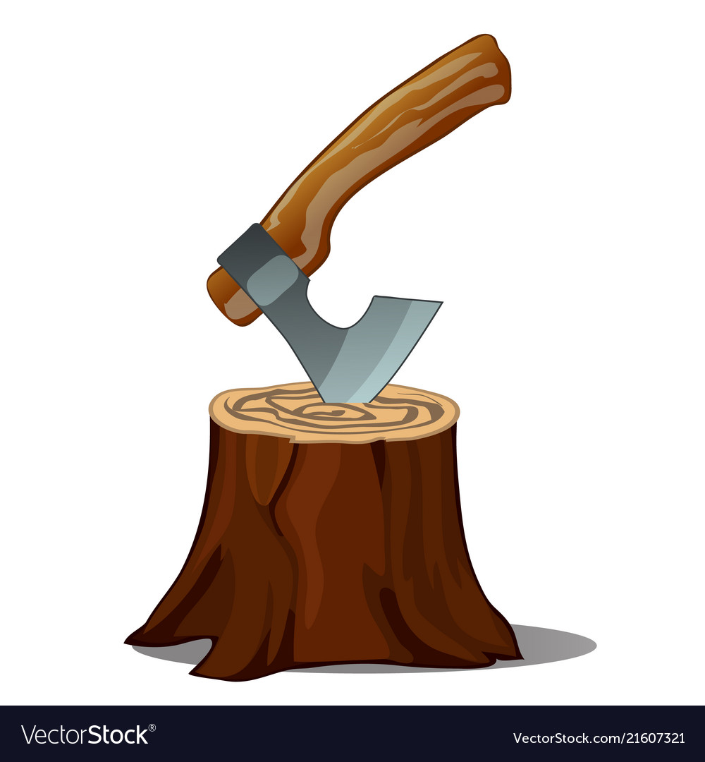 A tree stump with an axe stuck isolated on white