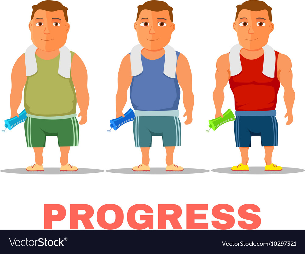 Cartoon guy fit progress after work out with towel