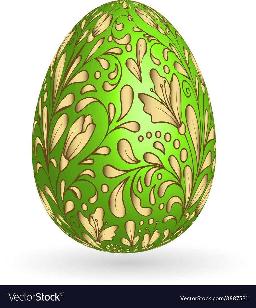 Colorful easter green egg with ornate doodle