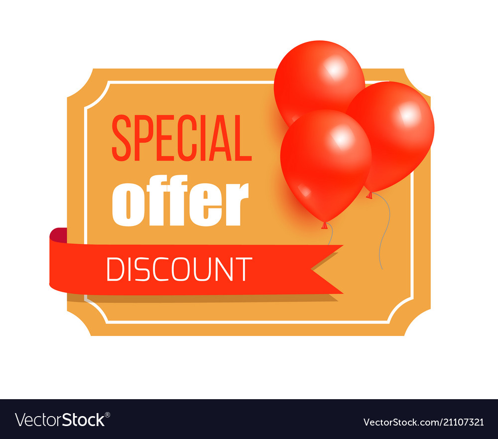 27 Cheap Design Ideas Offering: Discount Special Offer Card Design Balloons Label Vector Image