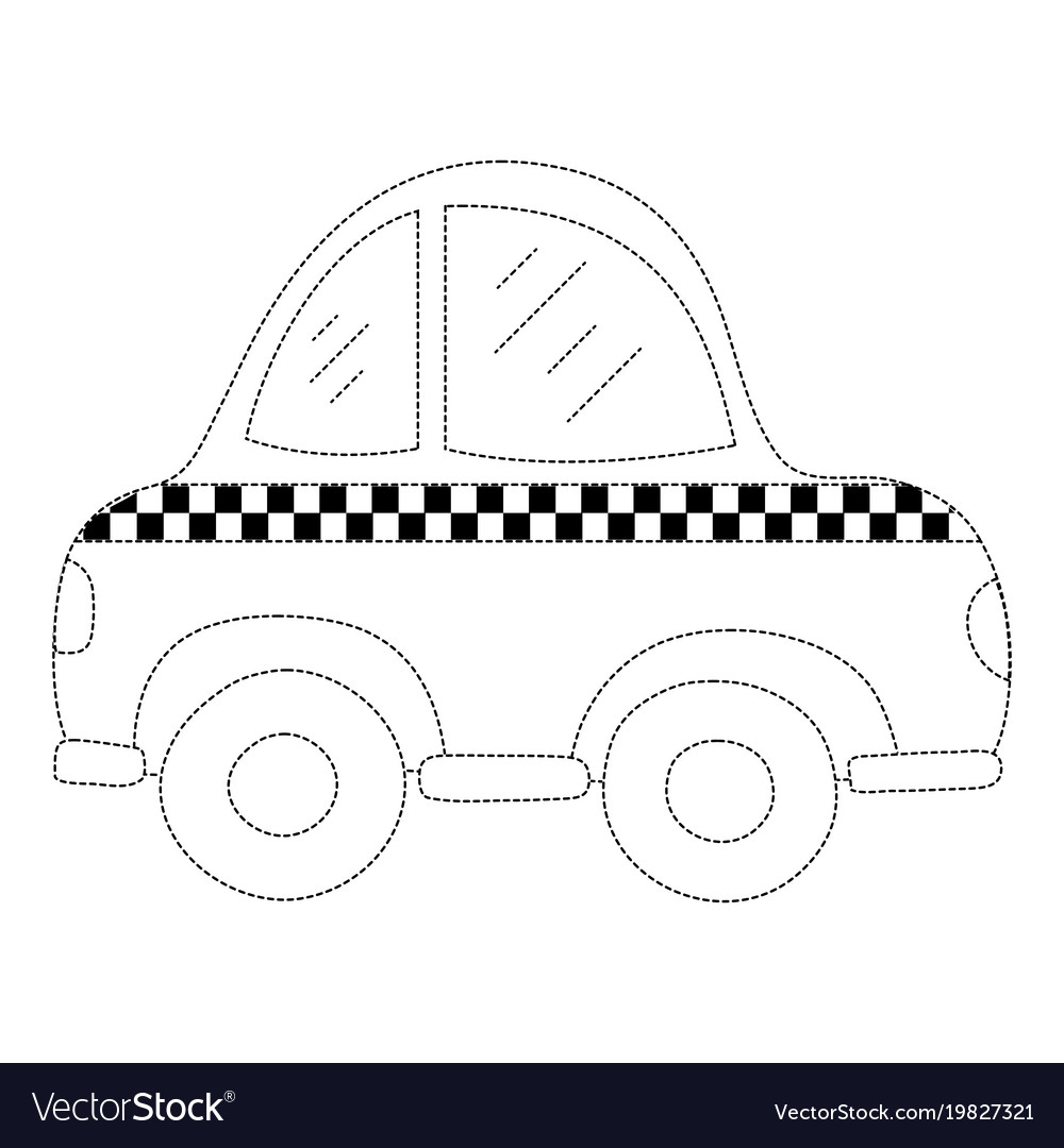 Dotted shape taxi car vehicle to transport service