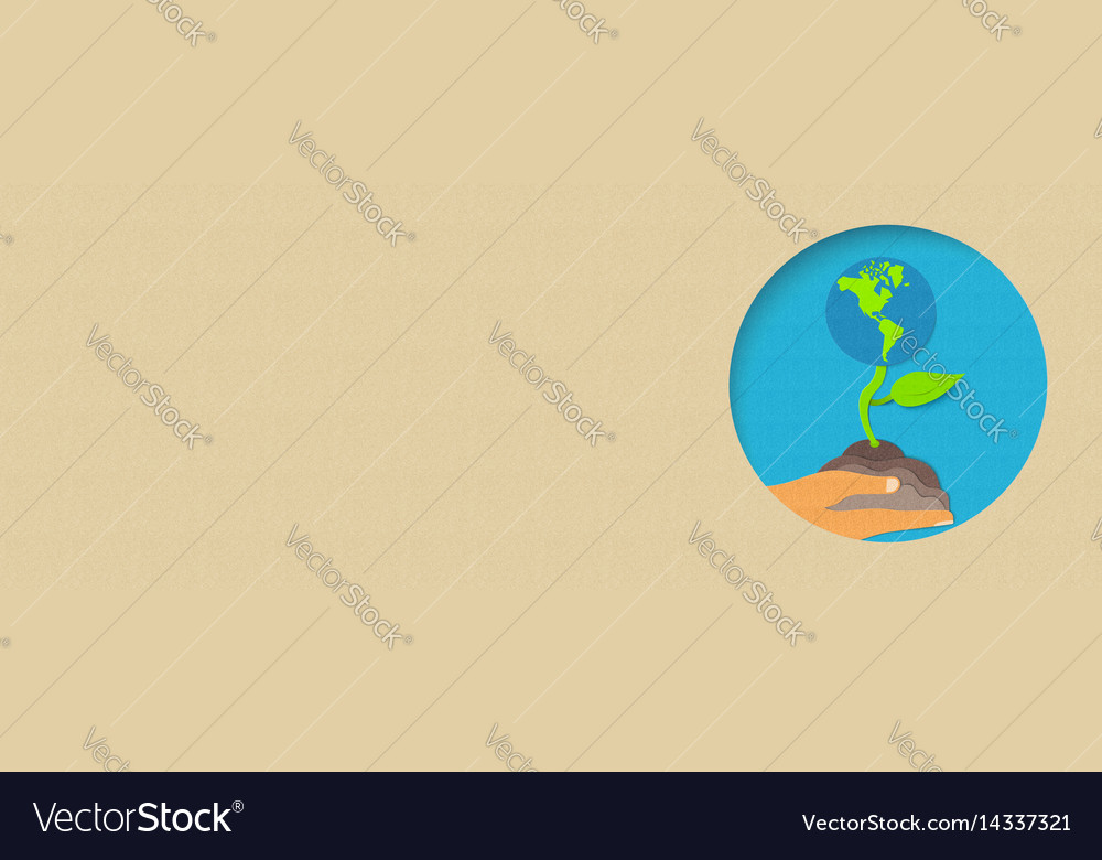 Earth day environment care paper cut banner