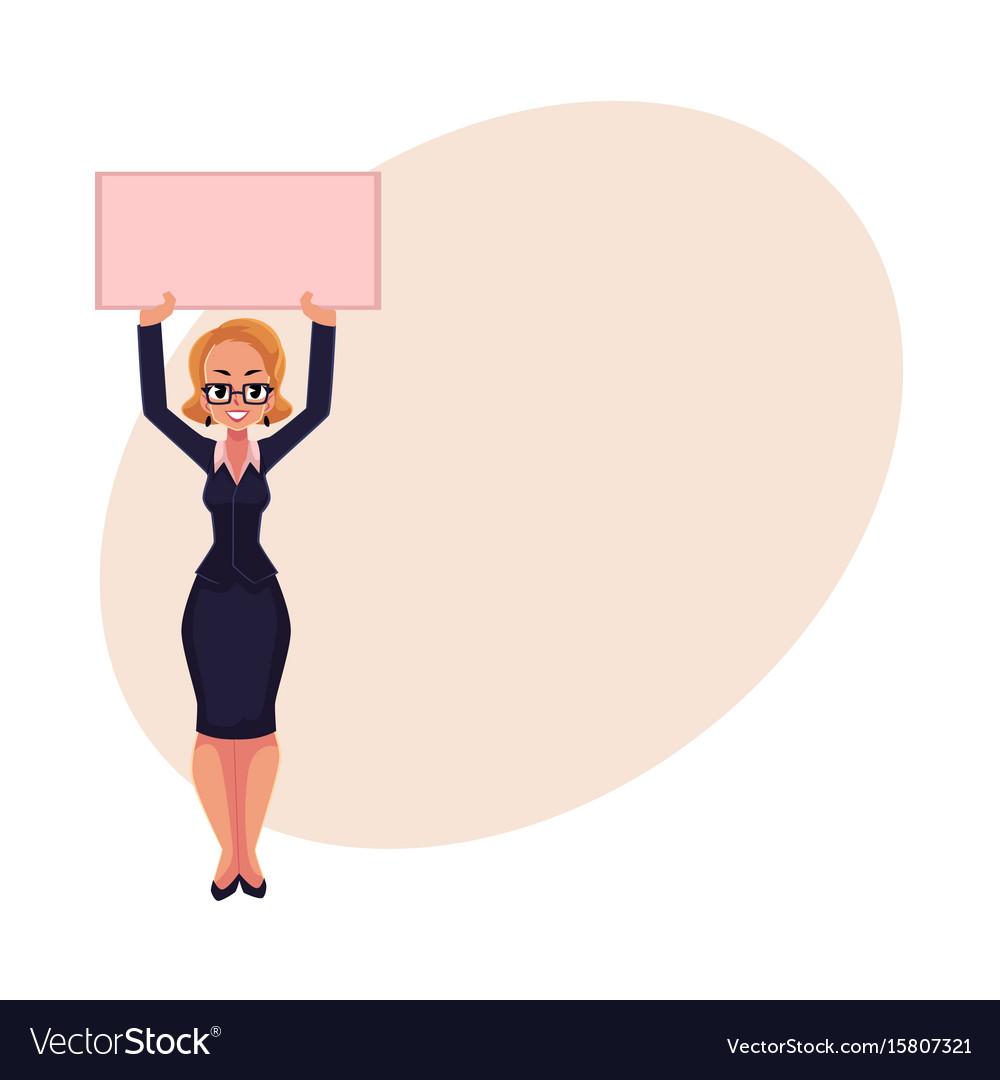 Girl woman businesswoman on strike holding empty