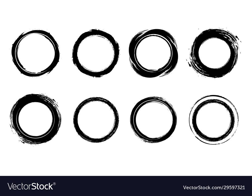 Grunge cycle border brush circle frame graphic v