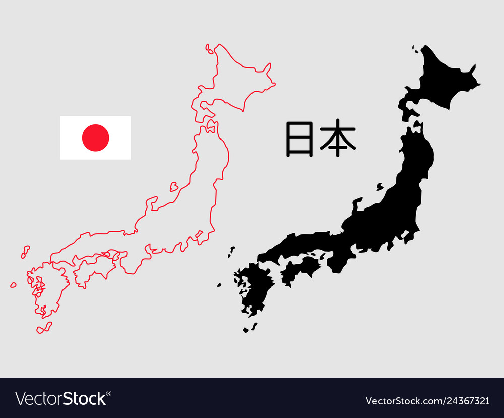 Japan map outline and silhouette