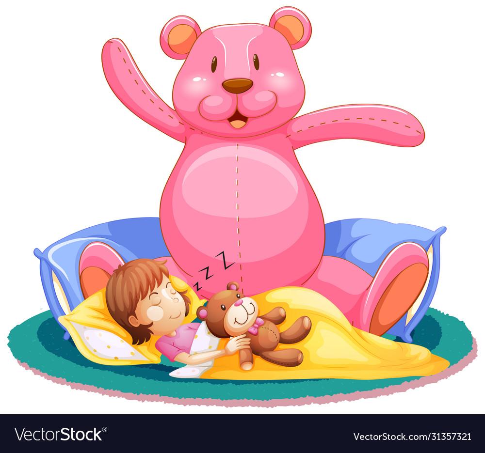 Little girl sleeping in bed with big teddy bear