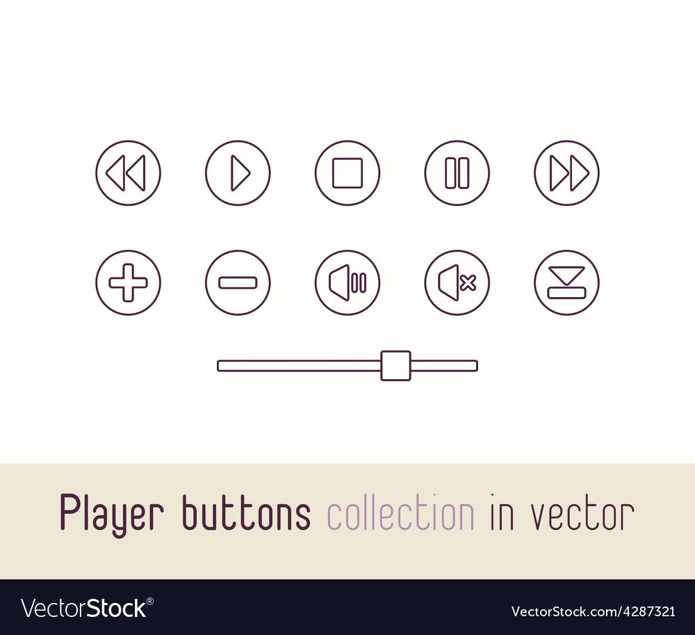 Multimedia player icons set Outline buttons for vector image