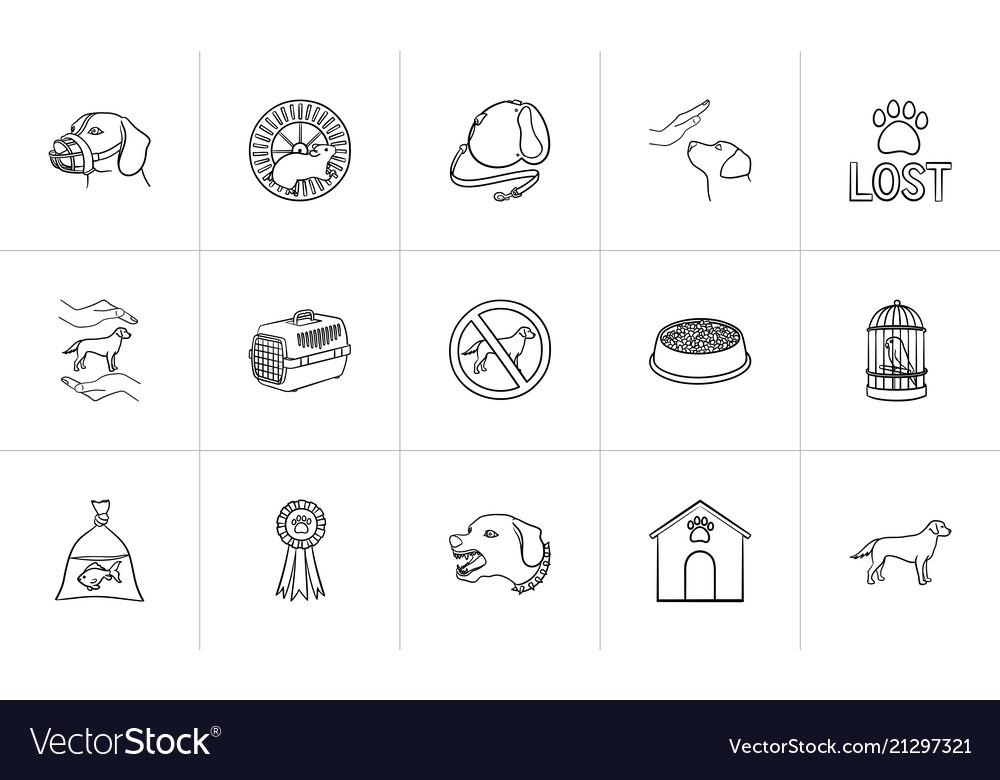Pets hand drawn outline doodle icon set