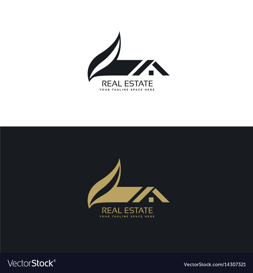 Real estate logo design with house and leaf shape vector image