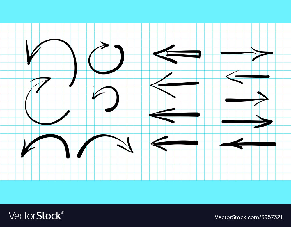 Set of hand-drawn arrow doodles vector image