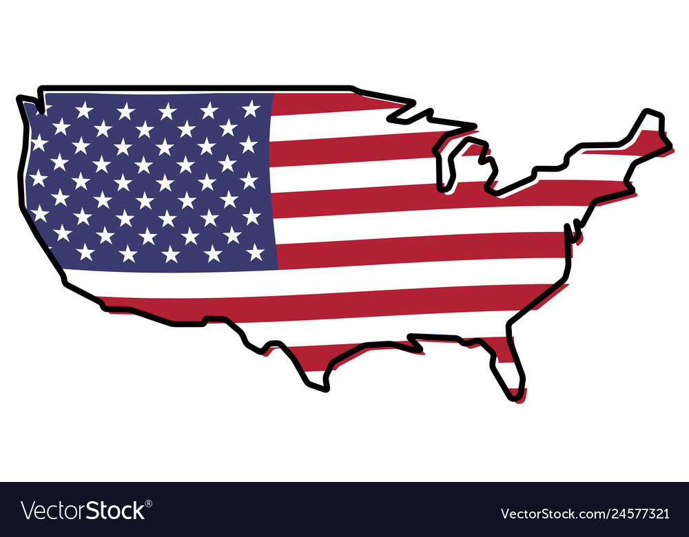 Simplified map - united states of america outline