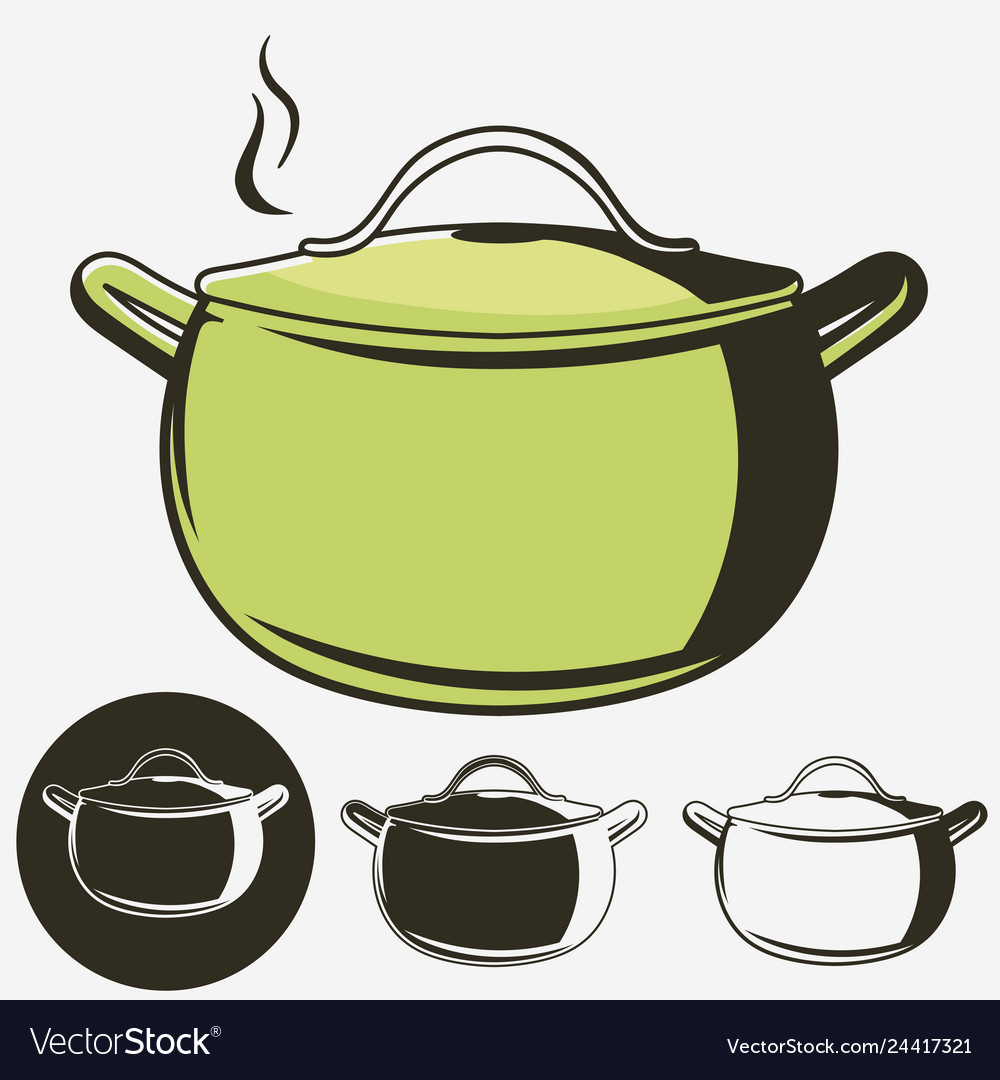 Soup pan pot of hot soup icon isolated
