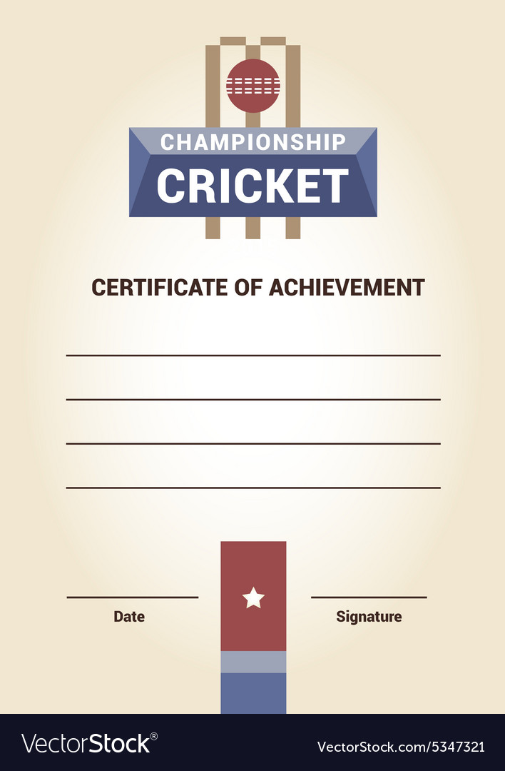 Template certificate diploma cricket royalty free vector template certificate diploma cricket vector image yelopaper Choice Image