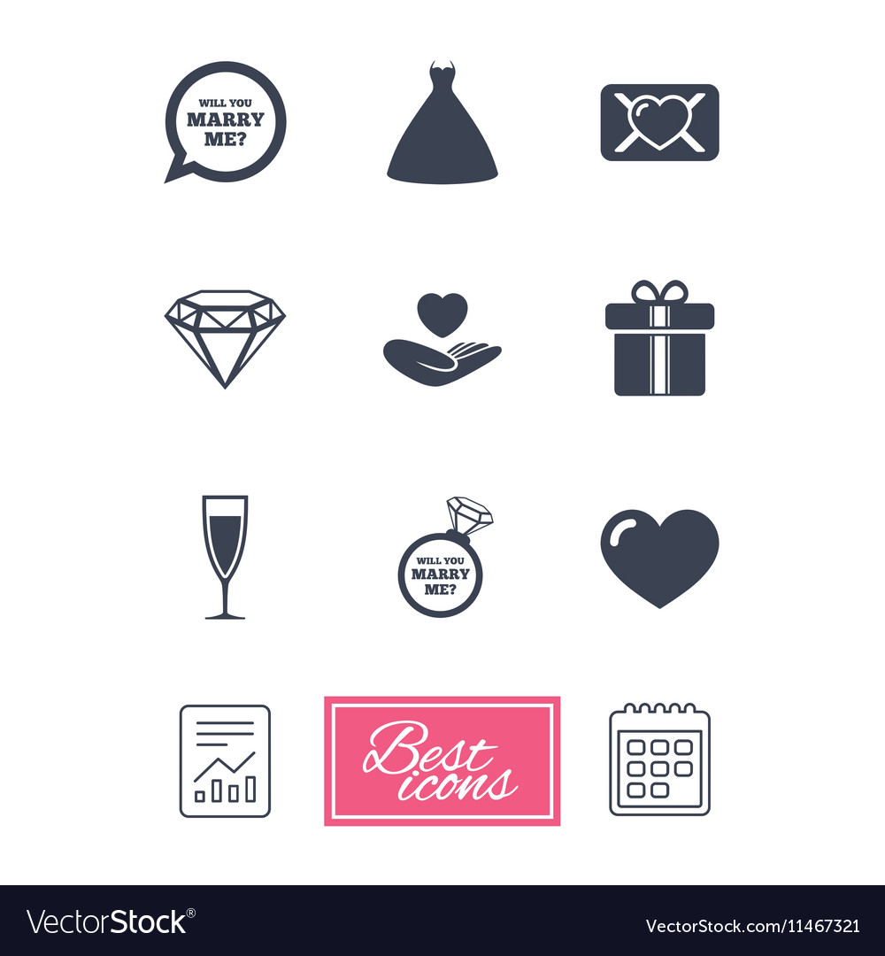 Wedding engagement icons Love oath letter