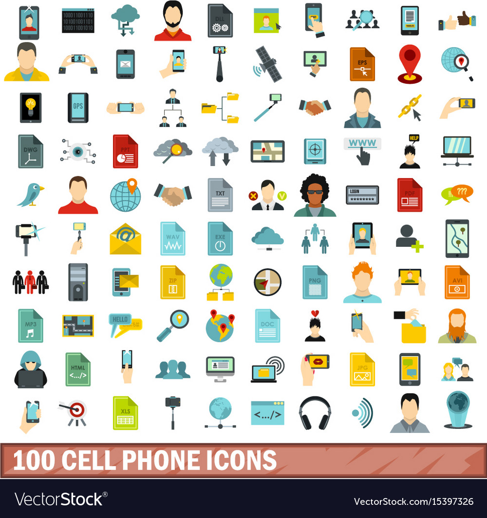 100 cell phone icons set flat style