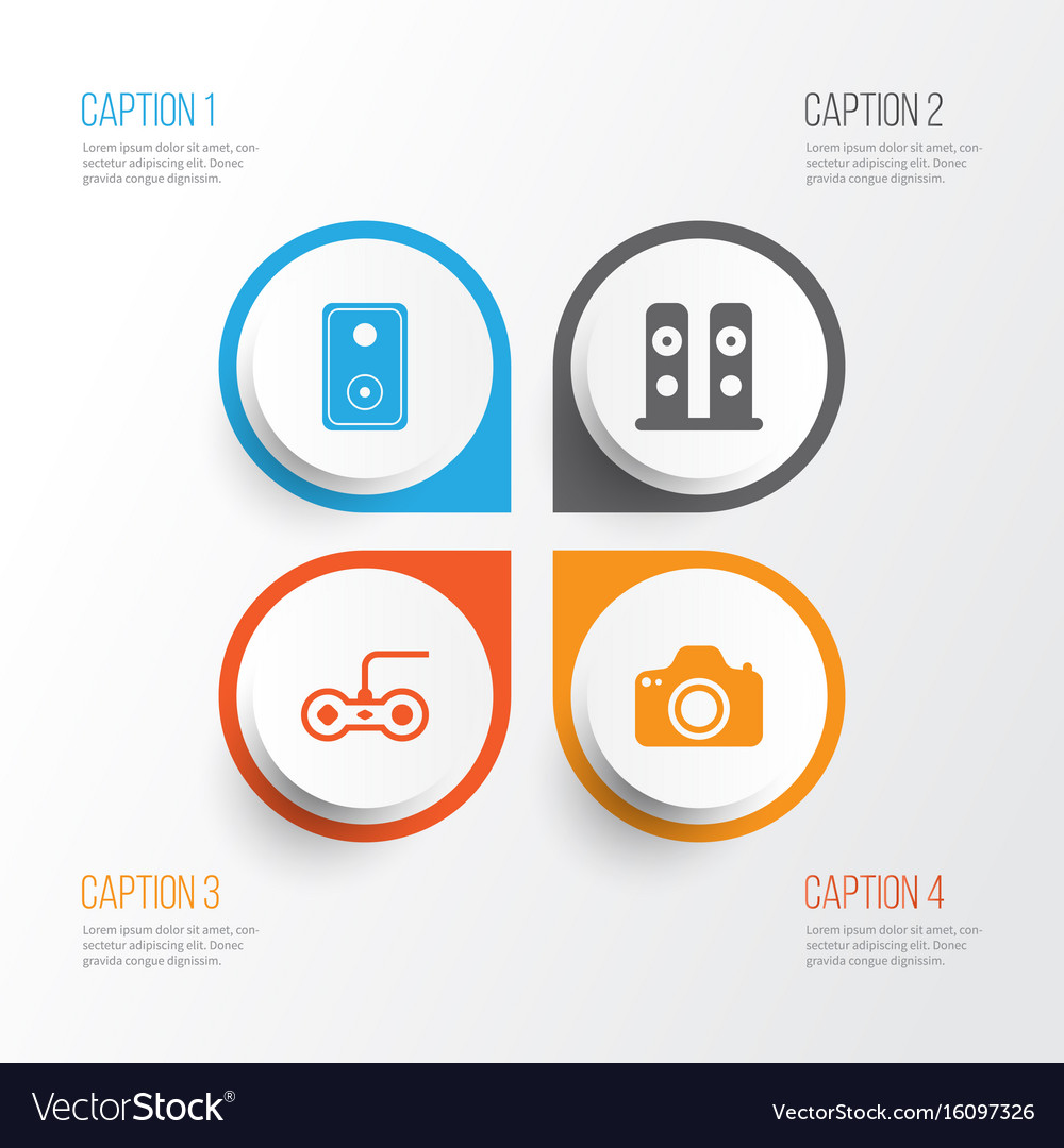 Computer icons set collection of camera vector image