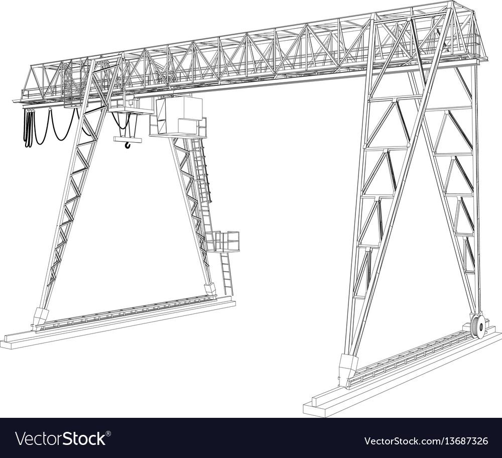 Gantry crane wire-frame rendering of 3d Royalty Free Vector