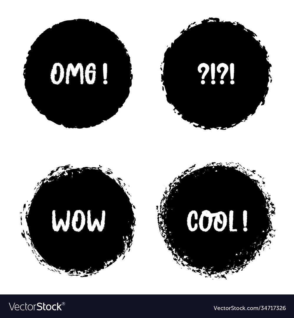 Grunge bubbles speech round badge