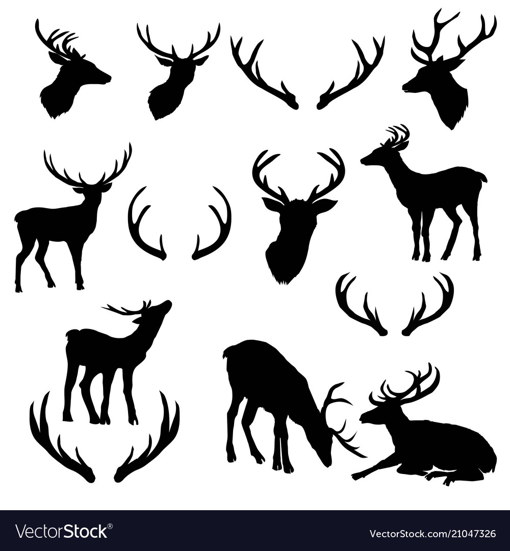 Large collection of deer silhouettes