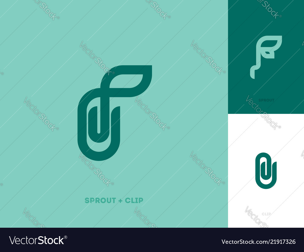 Modern line logo mark template with sprout and