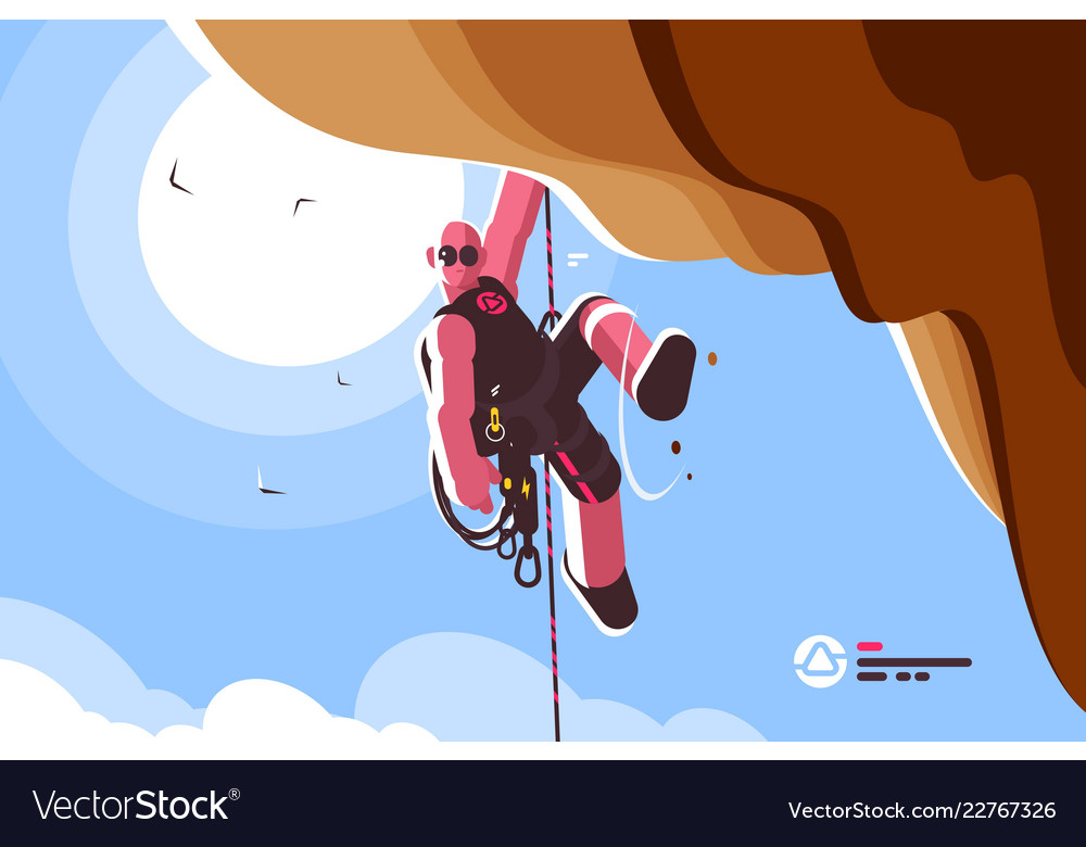 Mountain climber with special equipment
