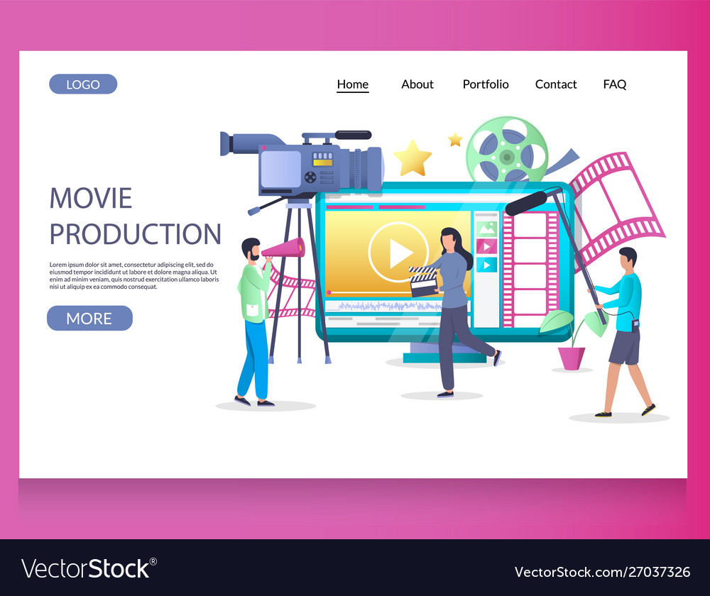 Movie production website landing page