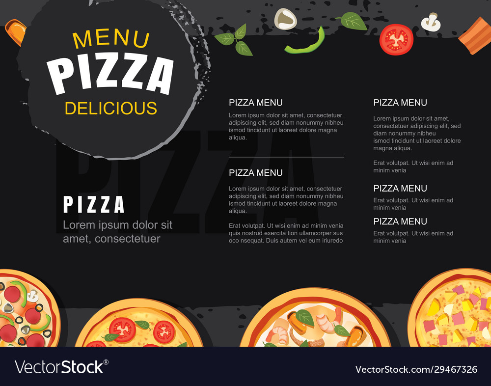 Pizza menu template for restaurant and cafe