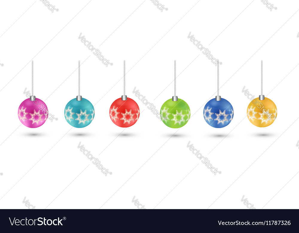 Set Christmas tree toy Round ball EPS 10 vector image