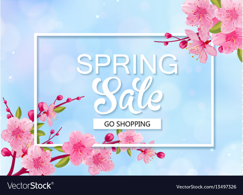 Spring sale banner with cherry blossoms blue sky