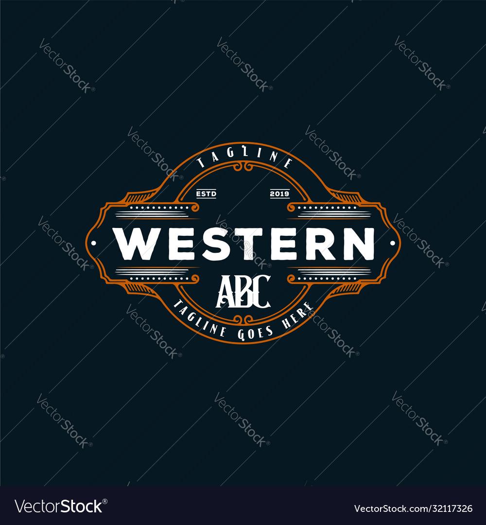 Vintage country emblem typography for western bar