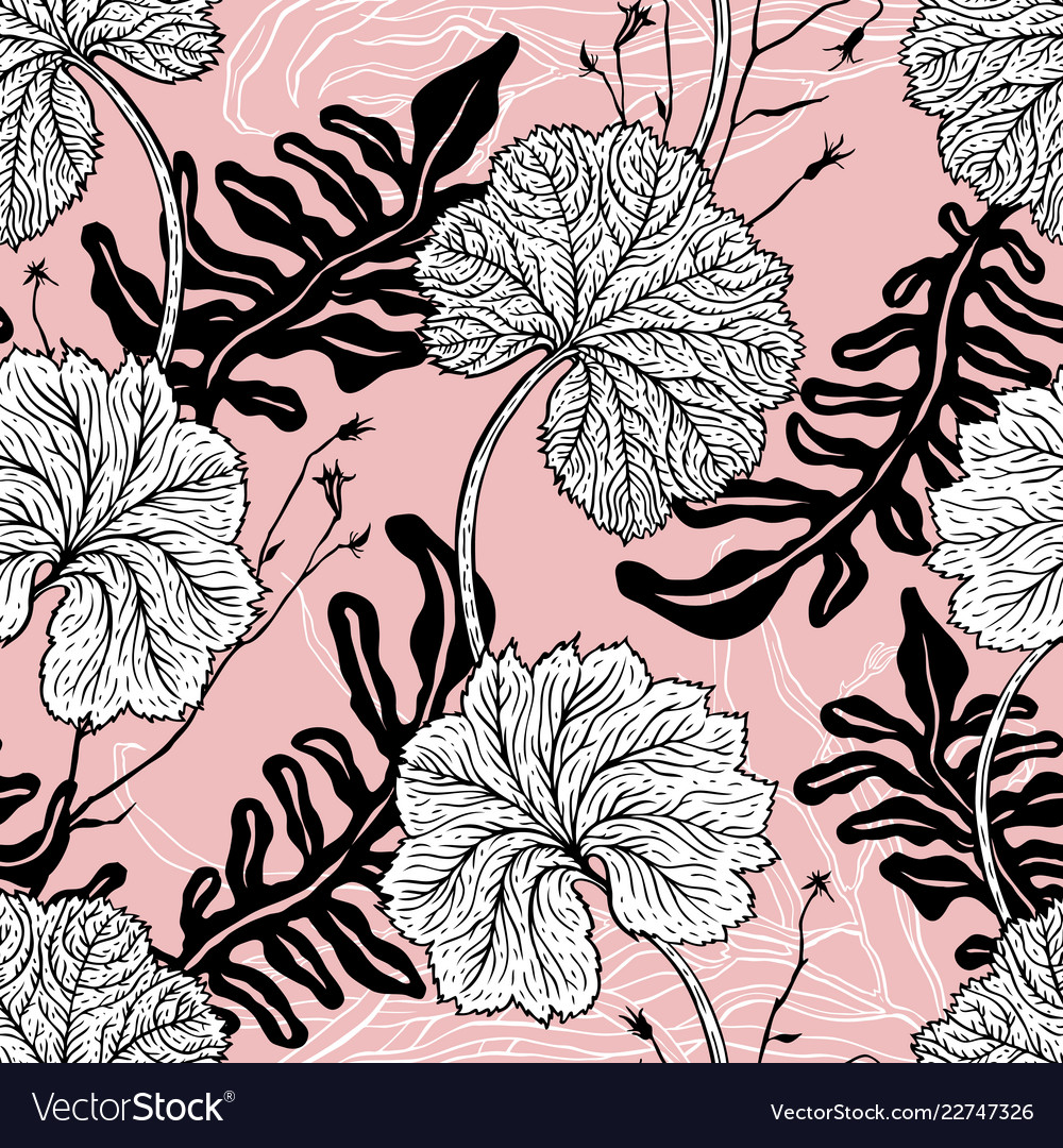 Vintage seamless pattern with hand drawn leaves