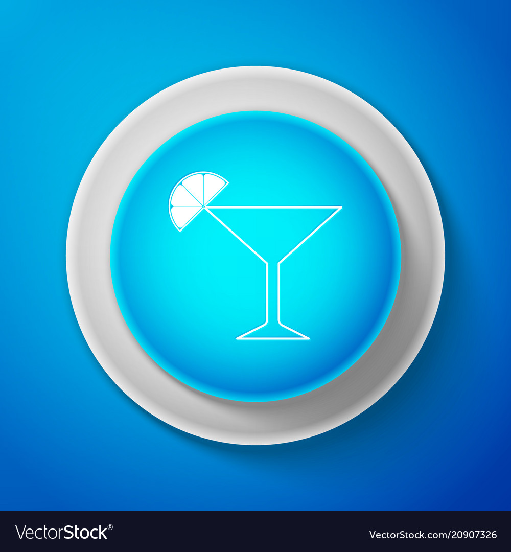 White martini glass icon cocktail with lime
